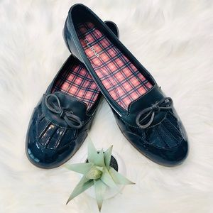 LL BEAN Women's Blue Leather + Patent Rain Loafers